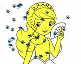 Disegno Principessa e ventaglio pitturato su pacooo