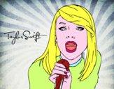 Disegno Taylor Swift cantando pitturato su Lusi