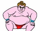 Disegno Lottatore sumo furioso pitturato su Achille