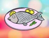 Disegno Piatto di pesce pitturato su bb10