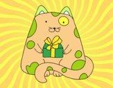 Disegno  Gatto con un regalo pitturato su AUDREY