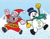 Babbo Natale e il pupazzo di neve di salto