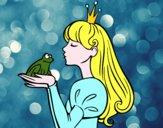 Disegno La principessa e della rana pitturato su moncici