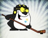 Pinguino giocare a hockey