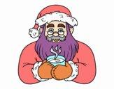 Babbo Natale con una tazza di caffè