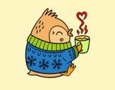 Uccellino con un tè