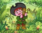 Ragazzo pirata e la sua scimmia