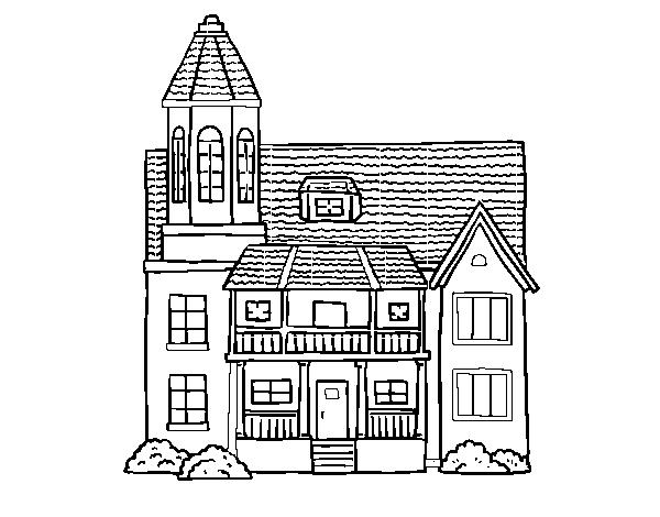 Disegno Di Casa A Due Piani Con Torre Da Colorare Acolorecom