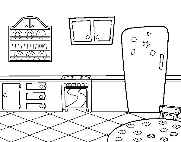 Disegno di cucina tradizionale da colorare for Disegno cucina
