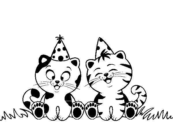 Disegno Di Gatti Di Compleanno Da Colorare Acolore Com