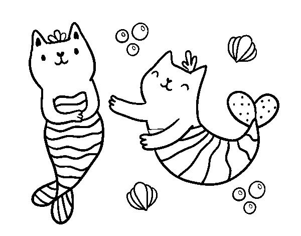 Disegno Di Gatti Sirena Da Colorare Acolorecom