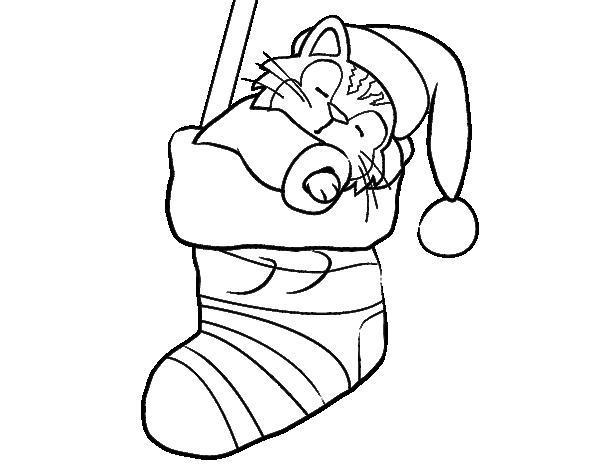 Disegno Di Gattino Che Dorme In Una Calza Di Natale Da