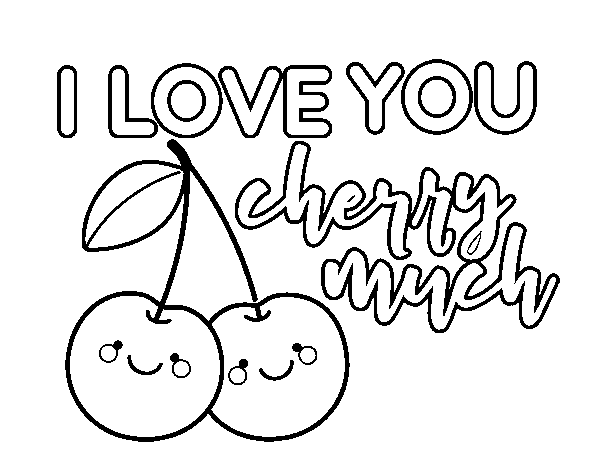 Disegno di I love you cherry much da Colorare
