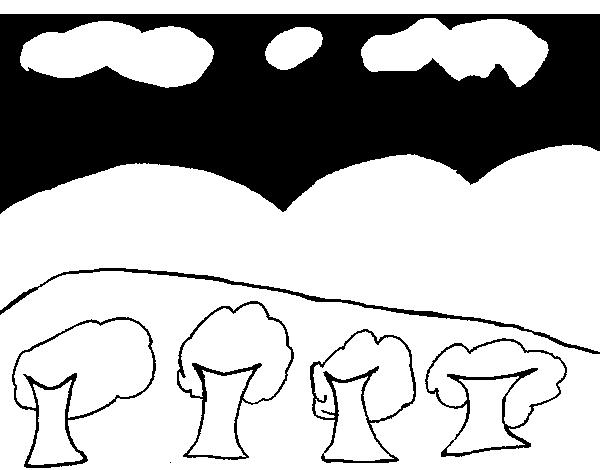 Disegno Di Paesaggio Con Montagna Da Colorare Acolorecom
