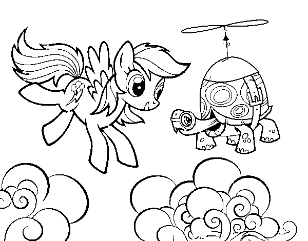Disegno Di Rainbow Dash And Tank Turtle Da Colorare Acolorecom
