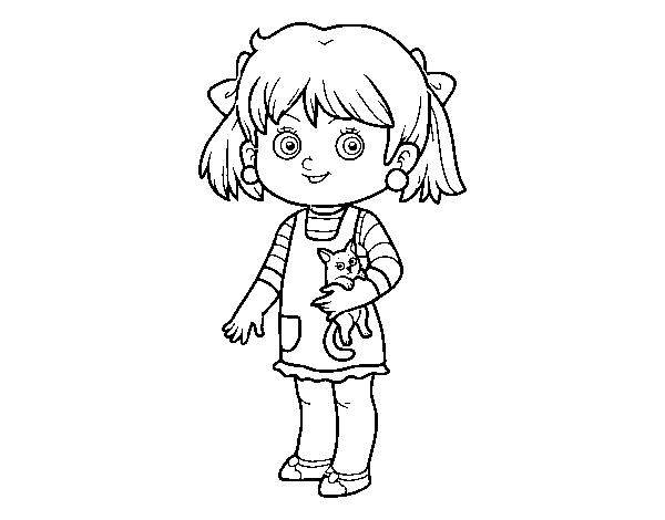 Disegno Di Una Bambina Con Gattino Da Colorare Acolorecom